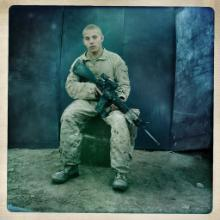 Lt. Cpl. Joe Titus, from East Windsor, Conn., at Combat Outpost 7171, photographed in Helmand Province, Afghanistan on Oct. 30, 2010.
