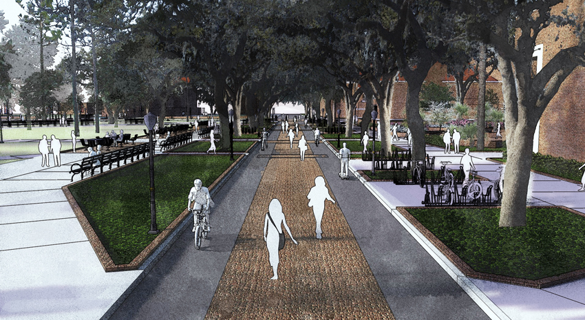 a rendering of newell drive looking south