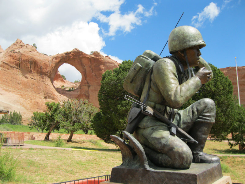 Window Rock with Navajo Code Talker Memorial