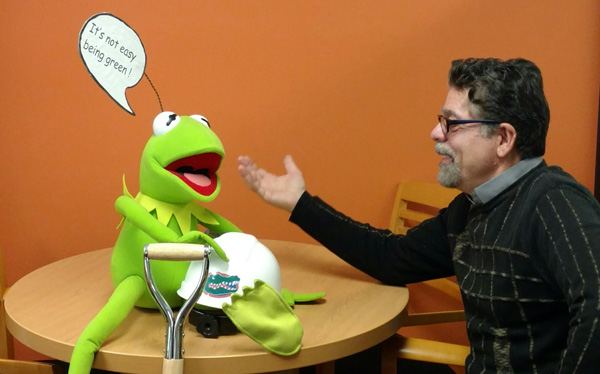javaheri with kermit puppet