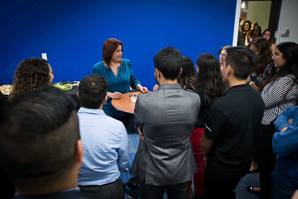 photo of students as Ana Navarro event