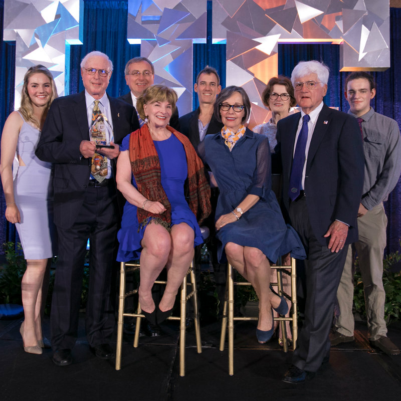 Photo of From left: Kayla Steinmetz, Chuck Steinmetz, UF President Kent Fuchs, Margie Steinmetz, Alexis Pugh, Beth McCague, Jim Pugh, Matthew Steinmetz and Reid Steinmetz