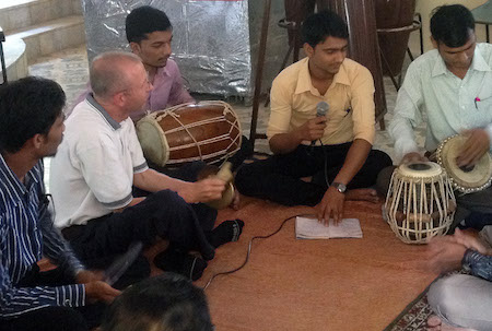 Kenneth Broadway with tabla players in India
