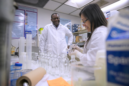gbola in his lab