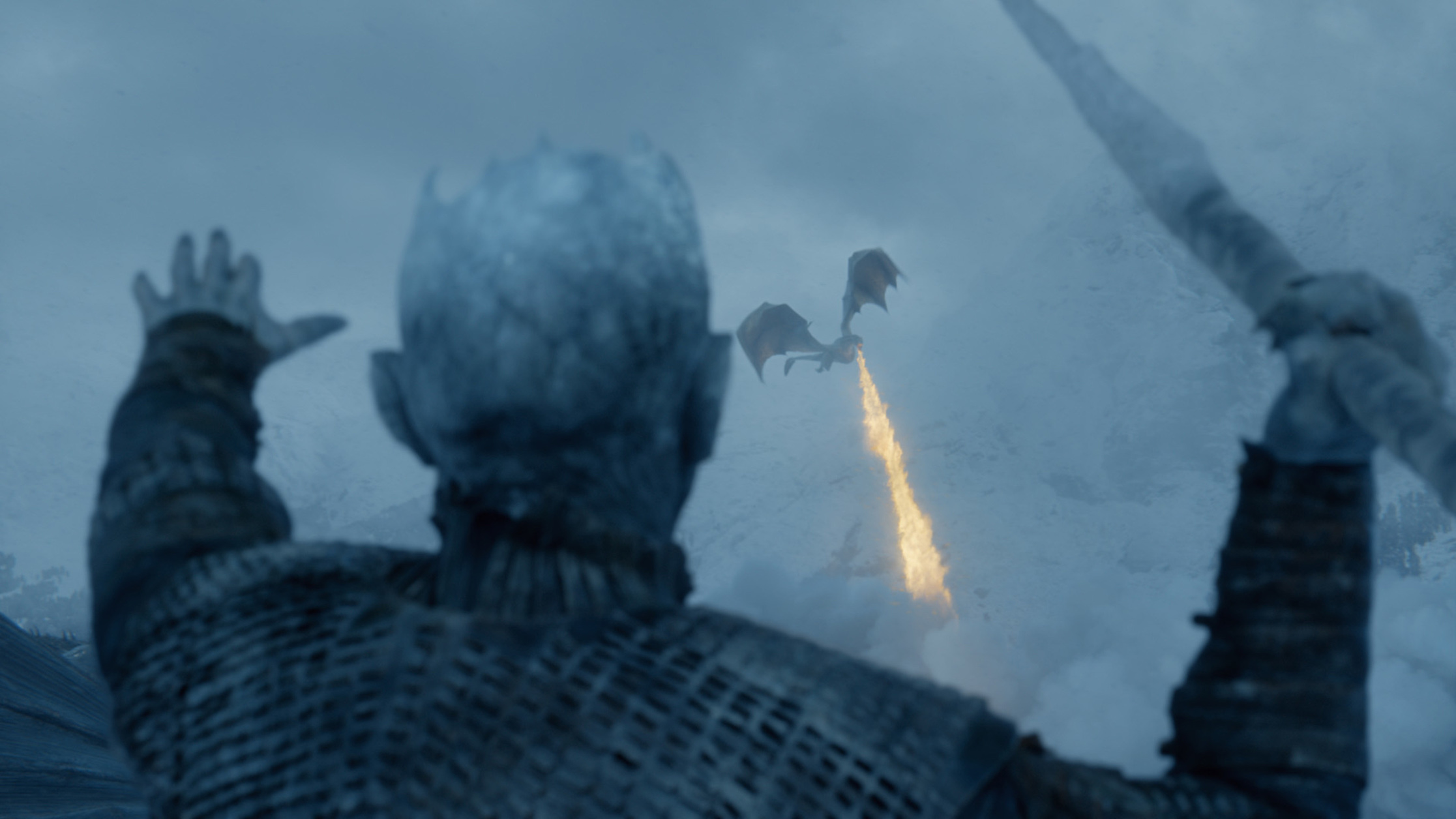 The Night King aims an Ice Spear at the dragon Viserion north of the wall