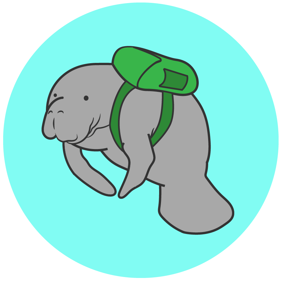An illustrated manatee wears a backpack