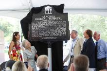 A Florida Historical Marker acknowledging the legacy of Alachua General Hospital was unveiled July 11 at Innovation Square. The marker is installed on the site where the hospital stood for nearly 82 years.